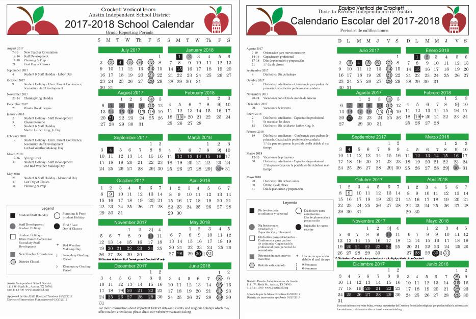 2017 2018 Calendar St Elmo Elementary School